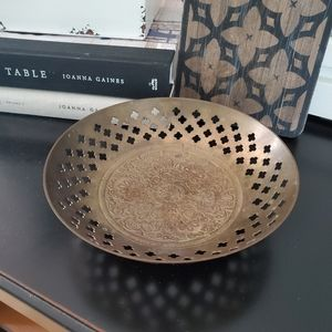 Vintage Antique Brass Floral Bowl Made in India